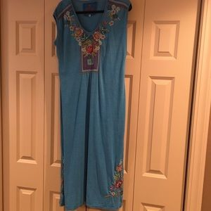 Johnny Was Cotton Blue Embroidered maxi